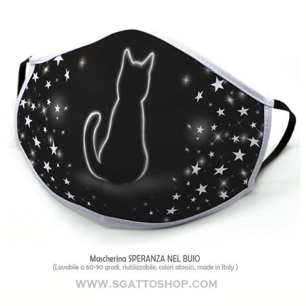 Mascherina nera con disegno gatto SPERANZA NEL BUIO lavabile in lavatrice anche a 90 gradi riutilizzabile
