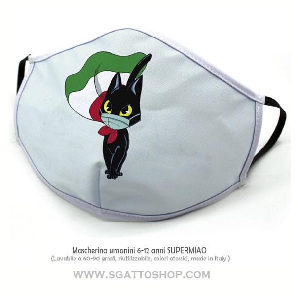 Mascherina per bambini 6-12 anni gattino nero con mascherina indossata e bandiera come mantello lavabile fino a 90 gradi e riutilizzabile sempre