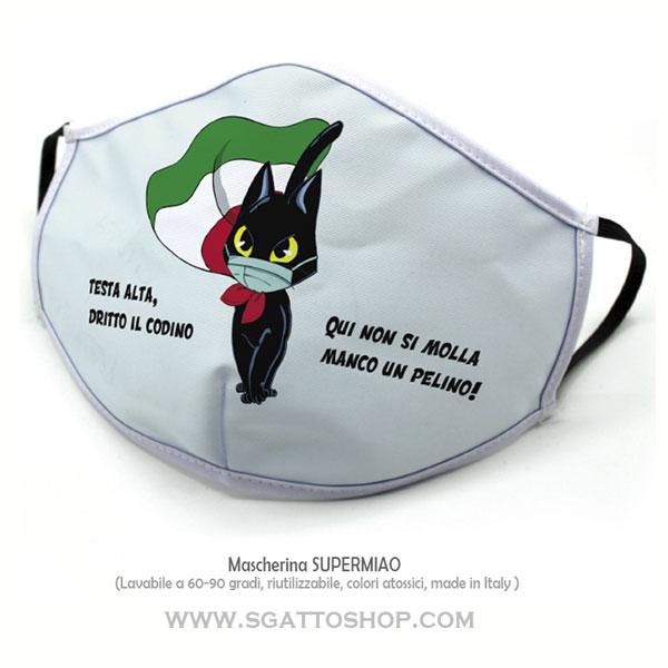Mascherina lavabile e riutilizzabile con disegno gatto e bandiera italiana